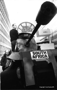 Anti-apartheid supporters drove a model tank