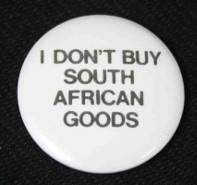 Badge with 'I don't buy South African goods'