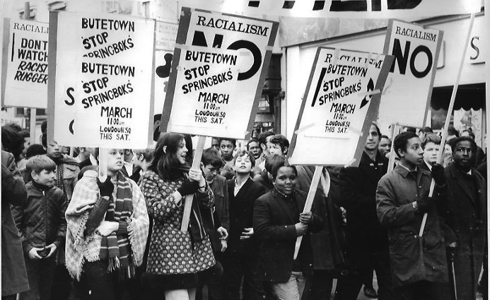 Anti-apartheid supporters marched from Cardiff's docks