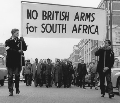 Banner reads No British Arms for South Africa