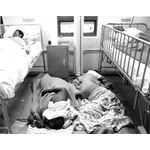 apd13. Patients sleep on the floor at Baragwanath Hospital, Johannesburg