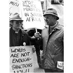 pic8501. Churchmen protest outside South Africa House